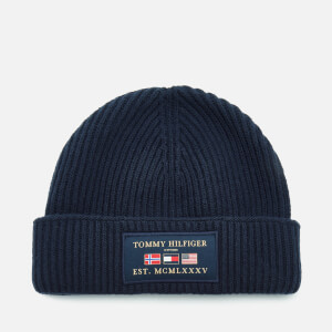 Tommy Hilfiger Men's Outdoors Patch Beanie Hat - Sky Captain