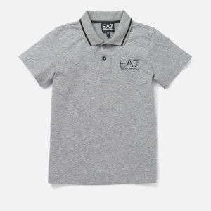 Emporio Armani EA7 Boys' Short Sleeve Small Logo Polo Shirt - Medium Grey Melange