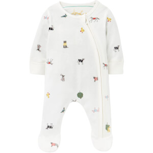 Joules Baby The Zip Babygrow - White Farm Print