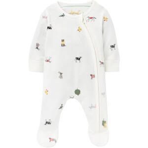 Joules Baby The Zip Babygrow - White Farm Print