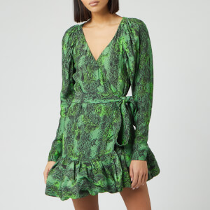 ROTATE Birger Christensen Women's Nancy Mini Wrap Dress - Stone Green