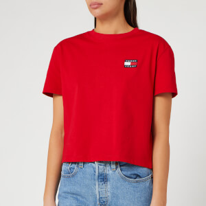 Tommy Jeans Women's TJW Tommy Badge T-Shirt - Deep Crimson