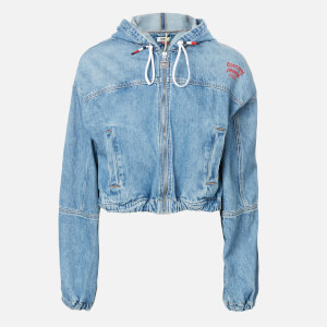 Tommy Jeans Women's Hoody Cropped Denim Jacket - Carol Lt Bl Rig