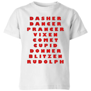 Reindeer Line Up Kids' T-Shirt - White