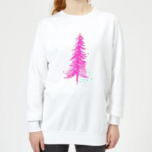 Pink Christmas Tree Women's Sweatshirt - White