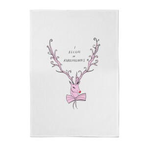 I Believe In Rudolicorns Cotton Tea Towel