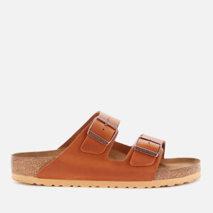 Birkenstock Men's Arizona Smooth Leather Double Strap Sandals - Antique Pull Cognac