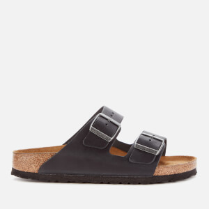 Birkenstock Women's Arizona Oiled Leather Double Strap Sandals - Black