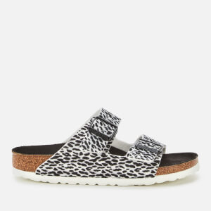 Birkenstock Women's Arizona Leopard Print Double Strap Sandals - Black/White