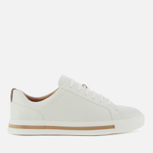 Clarks Women's Un Maui Lace Leather Cupsole Trainers - White