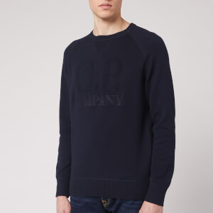 C.P. Company Men's Chest Logo Knitted Jumper - Total Eclipse