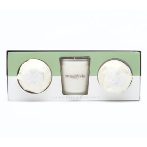 AromaWorks Light Range - Lemongrass & Bergamot Candle + Mini Aromabomb Gift Set