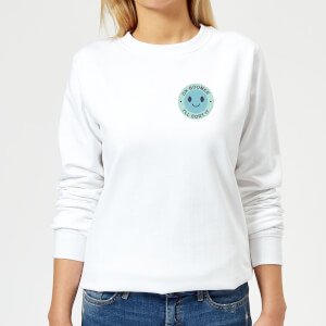 Ok Boomer Blue Smile Pocket Print Women's Sweatshirt - White