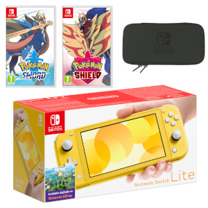 Nintendo Switch Lite (Yellow) Pokémon Sword and Pokémon Shield Double Pack