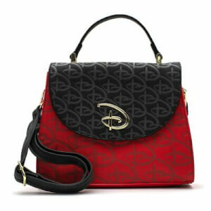 Loungefly Red/Blk Disney Logo Debossed Cross Body Bag W/R