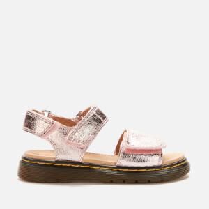 Dr. Martens Kids' Romi Crinkle Metallic Sandals - Pink Salt
