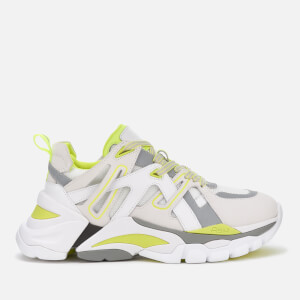 Ash Women's Flash Running Style Trainers - White/Silver/Fluo Yellow