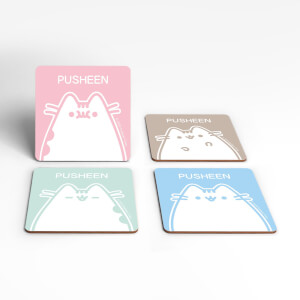 Pusheen Funny Faces Square Coaster Set