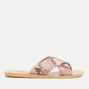 Ancient Greek Sandals Women's Thais Printed Python Slide Sandals - Nude