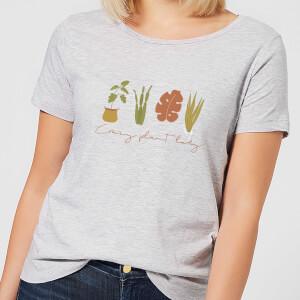 Burnt Orange Crazy Plant Lady Women's T-Shirt - Grey