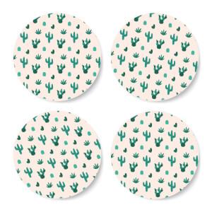 Light Cactus Pattern Coaster Set