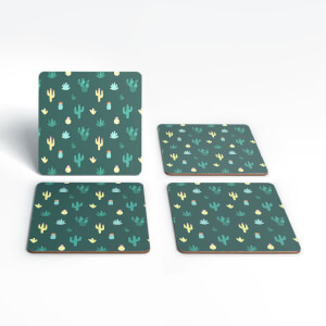 Dark Cactus Pattern Coaster Set