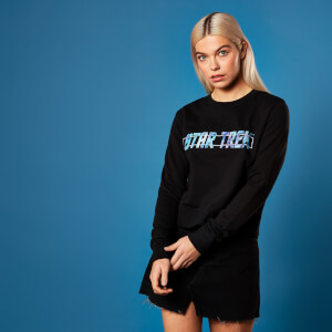 Star Trek - Sweat-Shirt Crop Holographic Logo - Noir - Femme