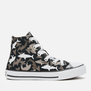 Converse Kids' Chuck Taylor All Star Shark Bite Hi-Top Trainers - Black/University Red/White