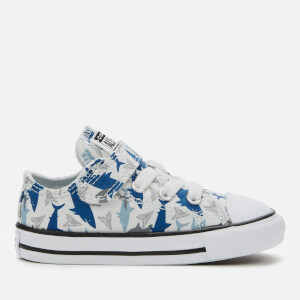 Converse Toddlers' Chuck Taylor All Star 1V Shark Bite Ox Trainers - Photon Dust/Rush Blue/White
