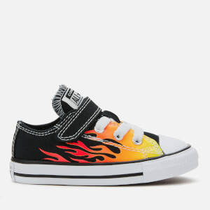 Converse Toddlers' Chuck Taylor All Star 1V Archive Flame Ox Trainers - Black/Enamel Red/Fresh Yellow