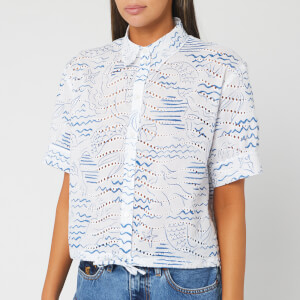 KENZO Women's Cropped Drawstring Shirt - Duck Blue