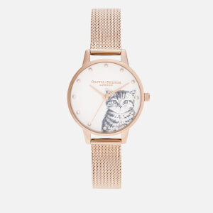 Olivia Burton Women's Illustrated Animals Pearly Kitten Watch - Rose Gold Mesh
