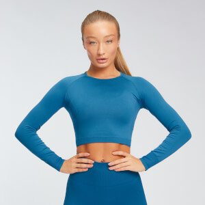 MP Women's Shape Seamless Long Sleeve Crop Top - Pilot Blue