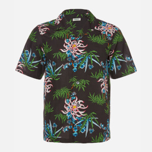KENZO Men's Printed Flower Short Sleeve Shirt - Black