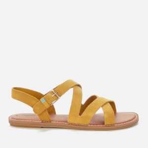 TOMS Women's Amber Gold Suede Sicily Sandal - Gold