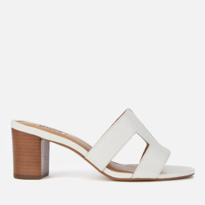 Dune Women's Joupe Croc Leather Heeled Mules - White