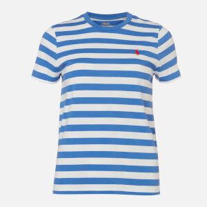Polo Ralph Lauren Women's Stripe Short Sleeve T-Shirt - White/Indigo Blue
