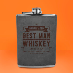 Best Man Whiskey Engraved Hip Flask - Grey