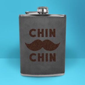 Chin Moustache Chin Engraved Hip Flask - Grey