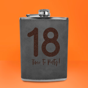 18 Time To Party! Engraved Hip Flask - Grey