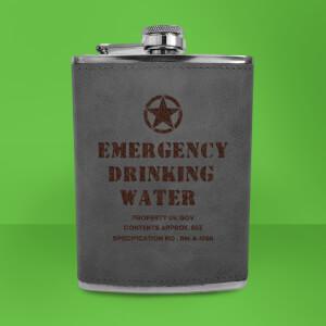 Emergency Drinking Water Army Flask - Grey Engraved Hip Flask - Grey