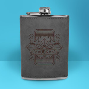 Vodka Line Seal Engraved Hip Flask - Grey