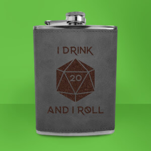 I Drink And I Roll D20 Engraved Hip Flask - Grey