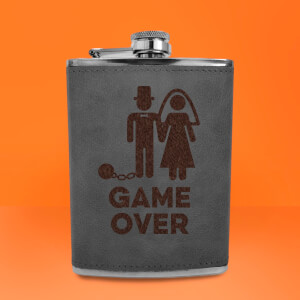 Groom Game Over Engraved Hip Flask - Grey