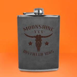 Western Moonshine Distilled 1865 Engraved Hip Flask - Grey