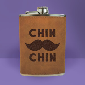 Chin Moustache Chin Engraved Hip Flask - Brown