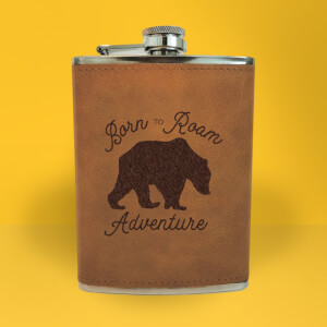 Bear Born To Roam Adventure Engraved Hip Flask - Brown