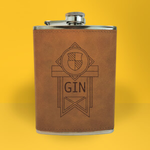 Gin Line Seal Engraved Hip Flask - Brown