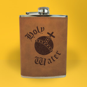 Holy Water Engraved Hip Flask - Brown