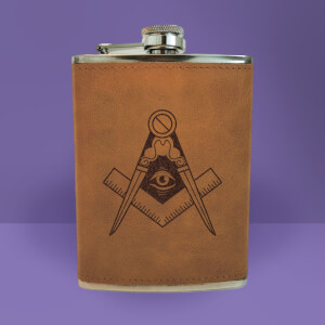 Illuminati Free Mason Symbol Engraved Hip Flask - Brown